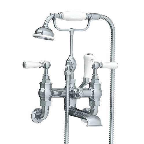 Lefroy Brooks Wall Mounted White Lever Bath Shower Mixer