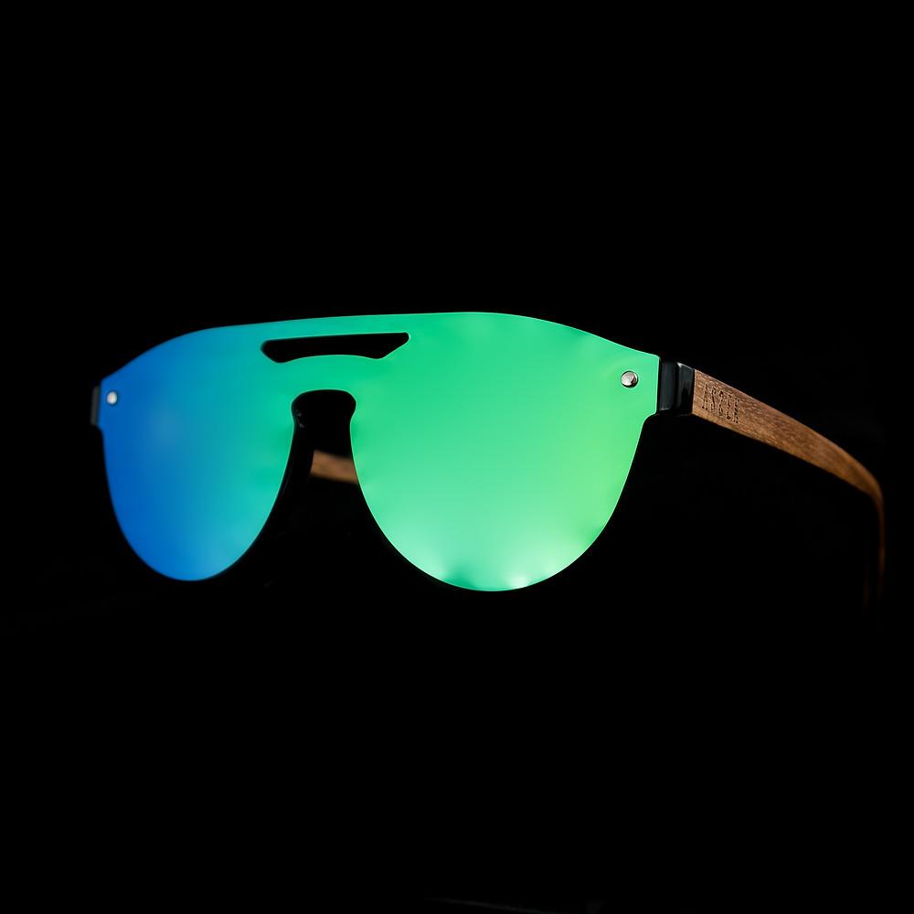 sunglasses, style, fashion, ibiza, menorca, travel, drone, drone pilot, traveler, blue, mirrored sunglasses, mediterranean, assen eyewear, accessories, natural wood