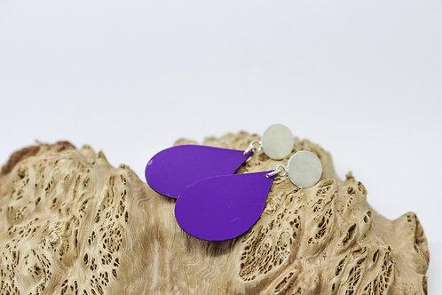 Purple Tear Drop & Sterling Silver Studs