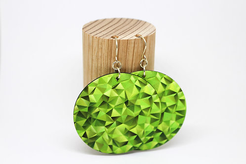 Green Geometric Disc Earrings