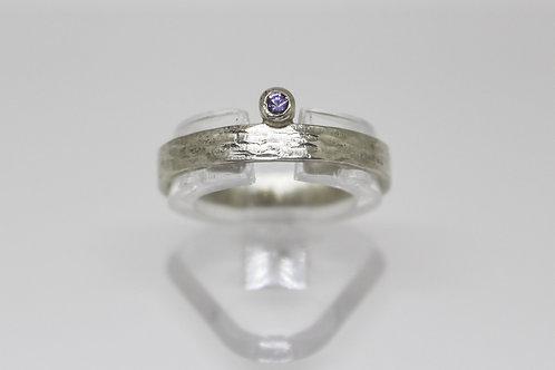 Purple Ceylon Sapphire in Sterling Silver Size P