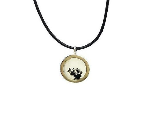 Dendritic Agate & Sterling Silver on Leather Necklace