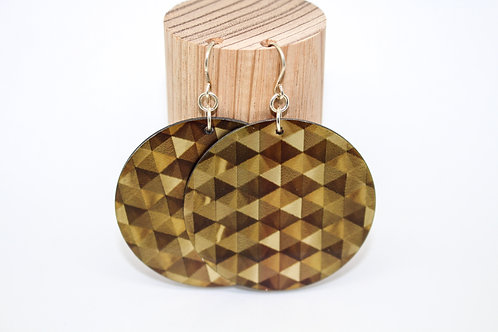 Bronze Geometric Disc Earrings