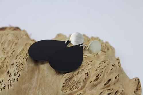 Black Tear Drop and Sterling Silver Studs