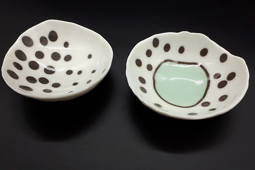 Set of Two Spotted Porcelain dishes