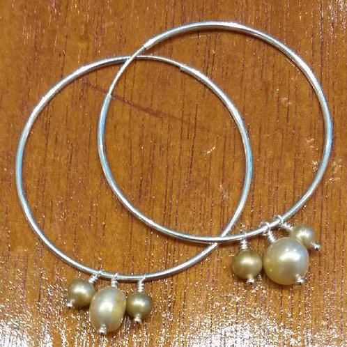 Pearl &  Sterling Silver Hoops