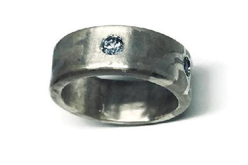 Sapphire Engraved  Ring