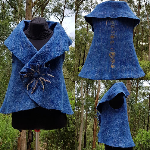 Wet Felt Circle Vest  with Flower Brooch and  Needle Felted Embellishement