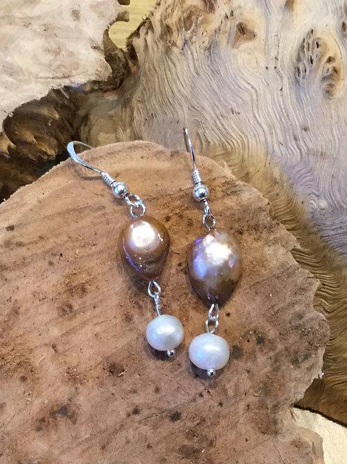 White & Light Bronze Freshwater Pearl Earrings