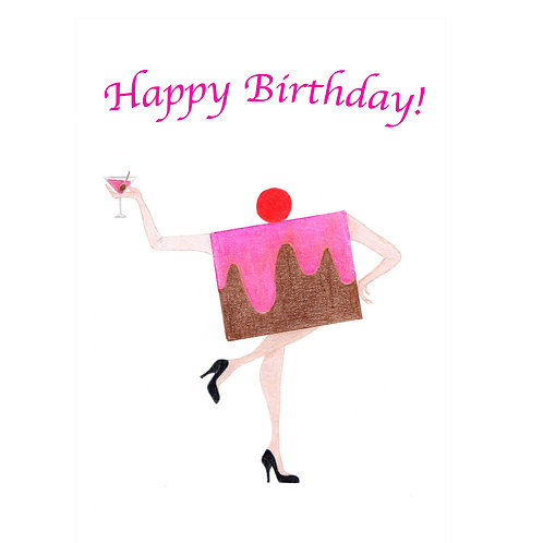 Dancing Cake Birthday Card