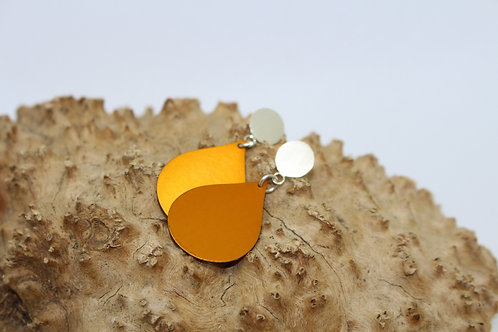 Golden Yellow Tear Drop & Sterling Silver Studs
