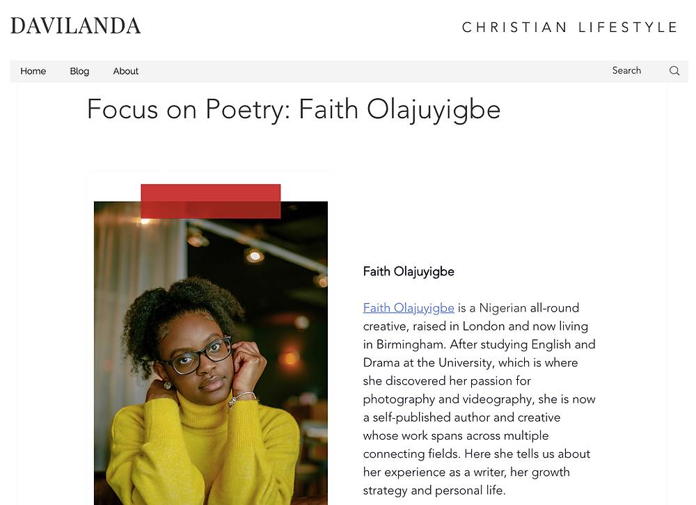 Faith Poetry Feature on Davilanda