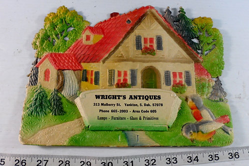 Wrights Antiques Paper Mache Advertising Sign