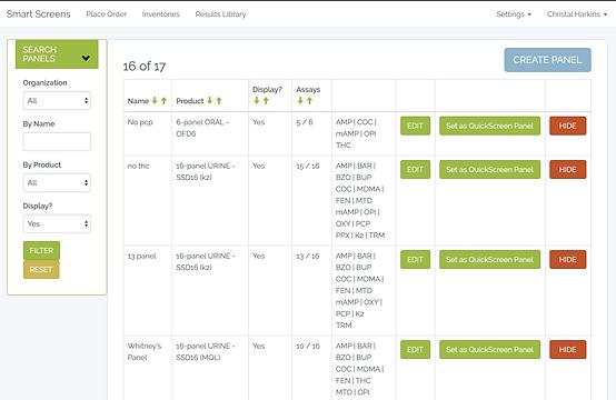 SmartReader test panel list page