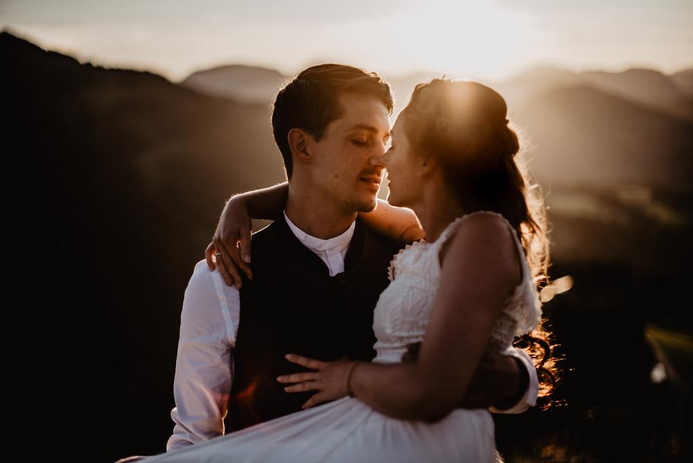 Berghochzeit Boho Hochzeit Sonnenuntergang