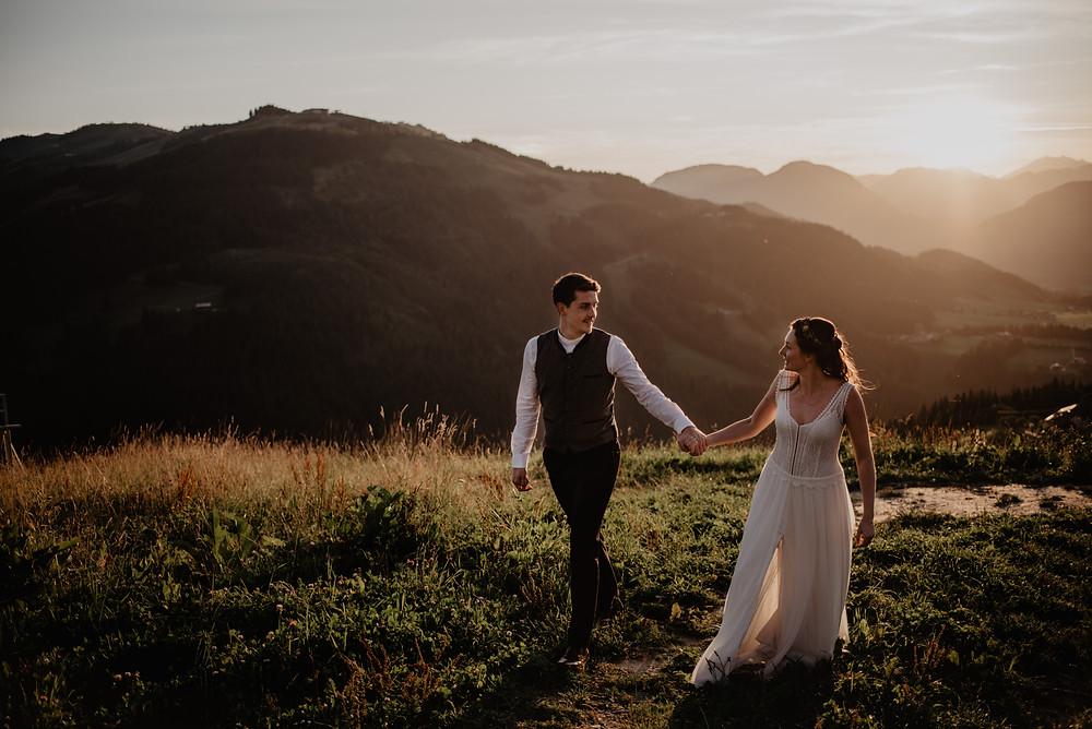 Brautpaarshooting Sonnenuntergang