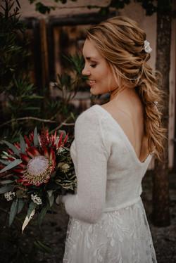 Boho Hochzeit Brautkleid Brautfrisur