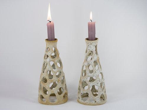 Large Candleholder Pair White
