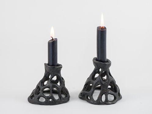 Black Candleholders Pair
