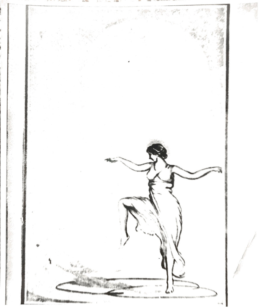 Art deco drawing of Isadora Duncan