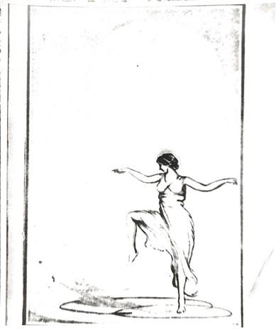 Art deco drawing of Isadora Duncan