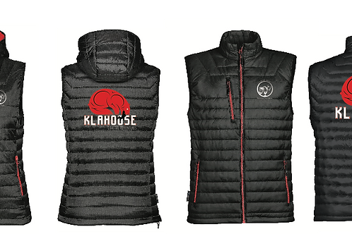 Sleeveless puffy vest with hoody