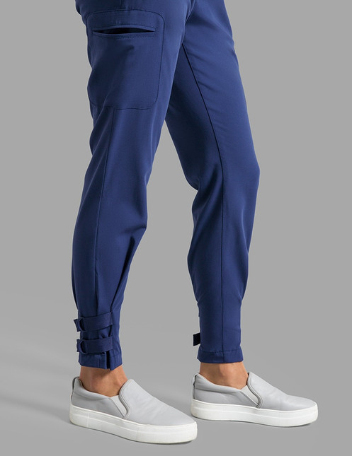 c1a5fdc11b0 From the buckles that let you adjust the cuffs to the on-trend jogger fit,  this pant is a sporty essential for your scrubs closet.