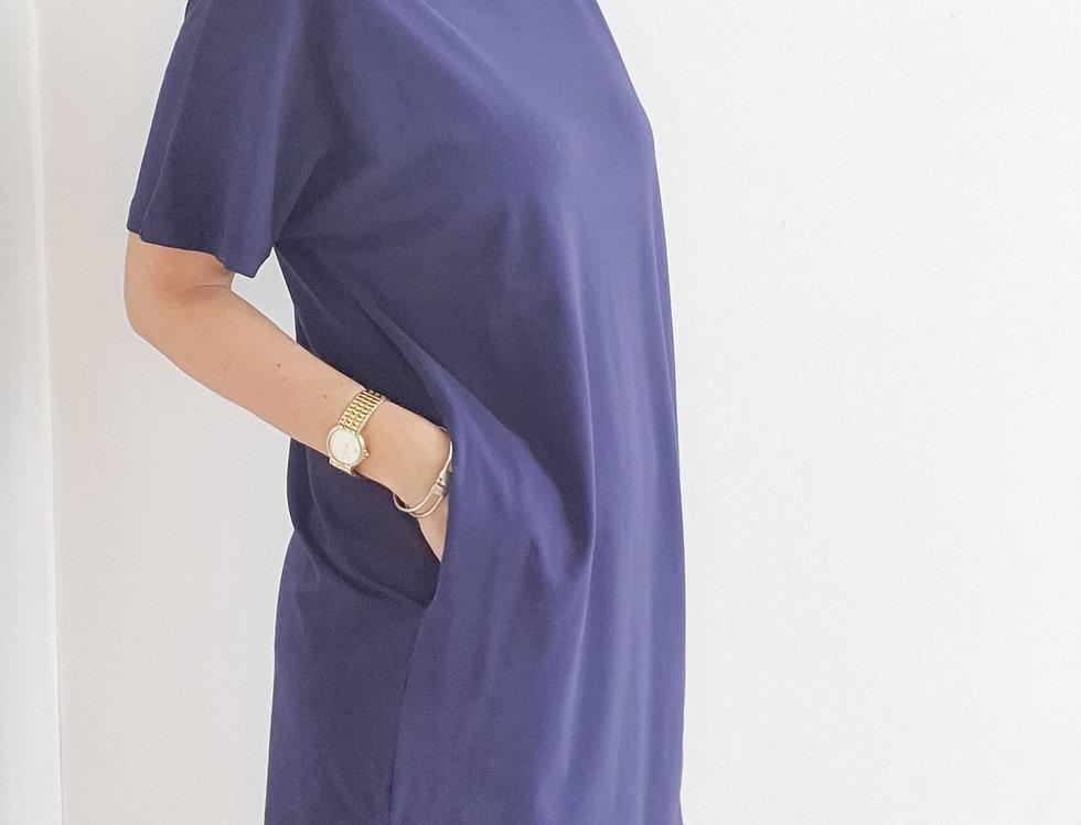 שמלת כותנה עם כיסים ומסיכה כחול
