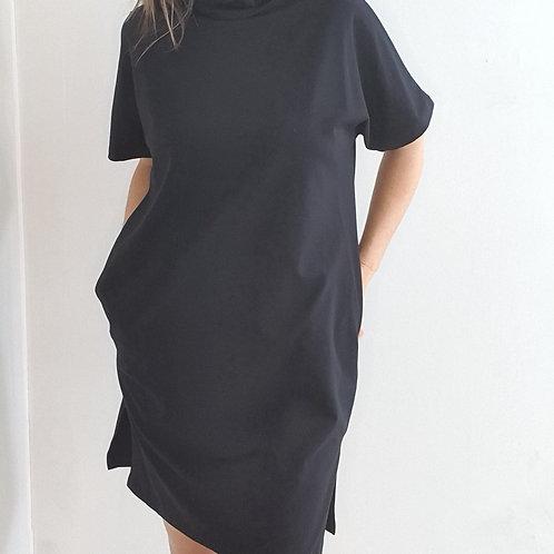 שמלת כותנה עם כיסים ומסיכה שחור