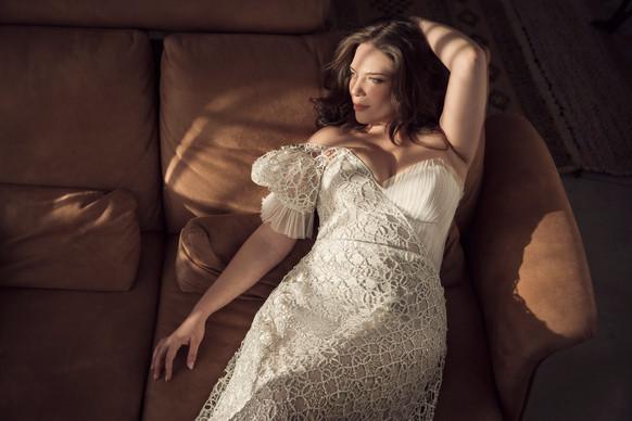 שמלת כלה מידות גדולות א סימטרית שרוול נפוח