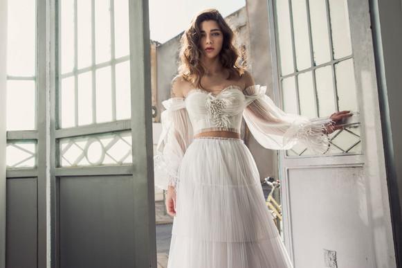 שמלת כלה 2 חלקים חצאית קומות