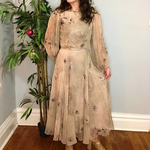 Vintage Semi Sheer Peasant Maxi Dress with Cowl Back Neckline