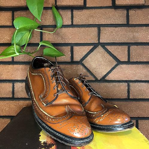 Vintage Leather Wingtip Lace Up Shoes
