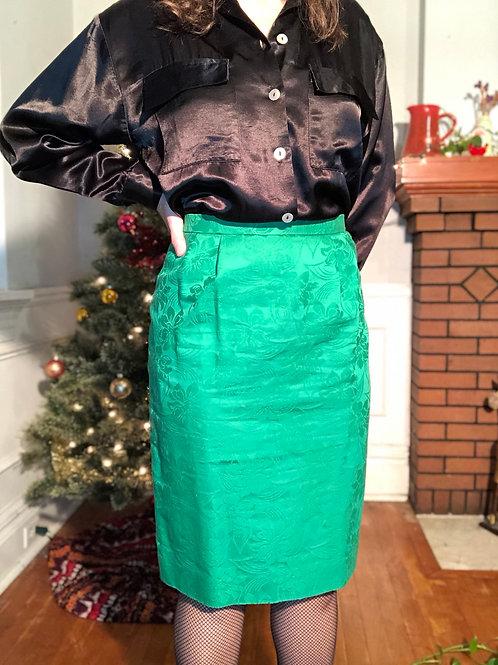 Vintage Kelly Green Brocade High Waisted Pencil Skirt