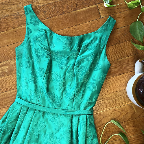 Vintage 50s 60s Green Brocade A-Line Sleeveless Dress with Tulle