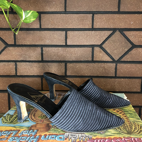 Vintage Black Fabric Mules with Thick Heel