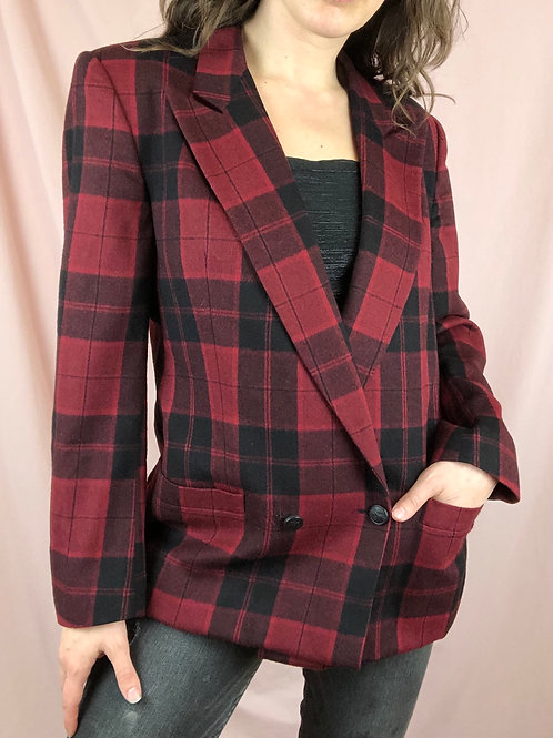 Vintage 60s Burberry Red and Black Double Breasted Wool Blazer