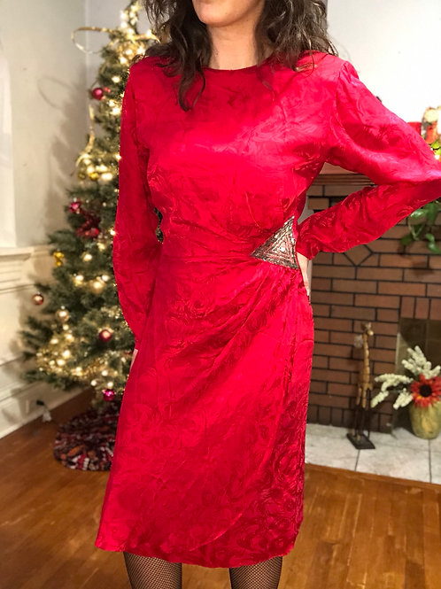 Vintage 90s Red Silk Brocade Dress with Silver Embellishment