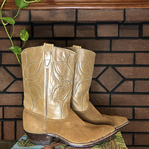 Vintage Tan Leather Cowboy Boots