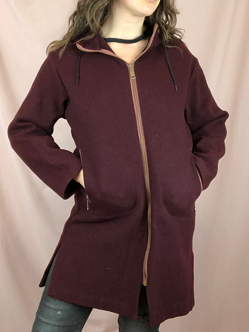 Vintage 60s Wool Zip Up Jacket with Duckbill Drawstring Hood