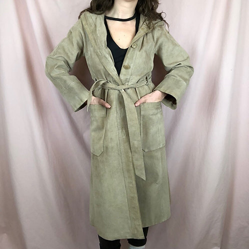 Vintage Beige Long Sleeve Leather Trench Coat with Hood and Belt