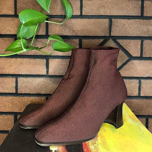 Italian Metallic Brown Stretchy Sock Booties with Chunky Heel