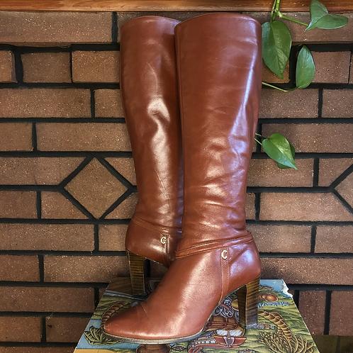 Vintage 70s Cognac Tan Leather Knee High Boots