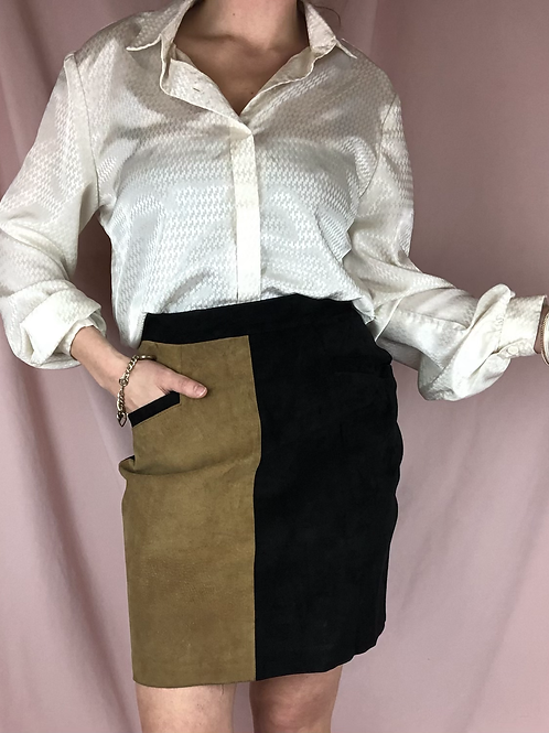 Vintage High Waisted Two Tone Leather Skirt