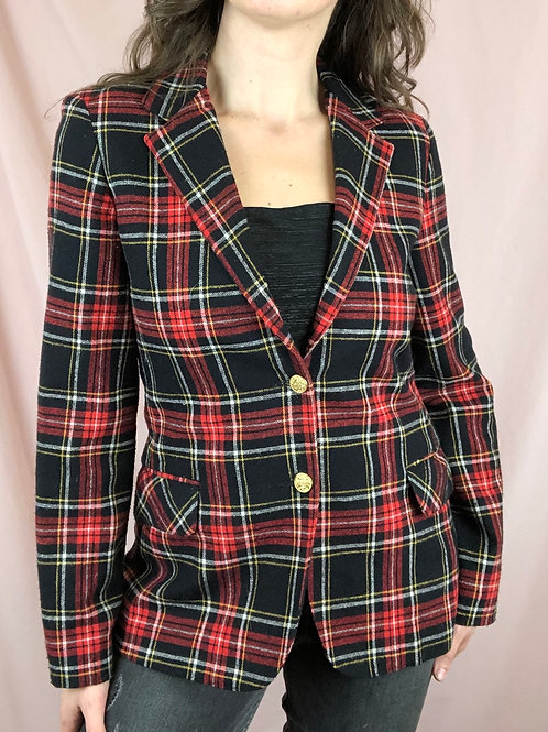 Vintage Classic Red Plaid Blazer
