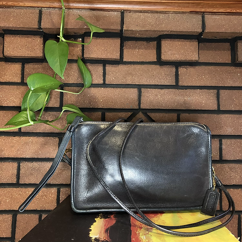 Vintage 70s Coach Leather Shoulder Bag with Double Strap