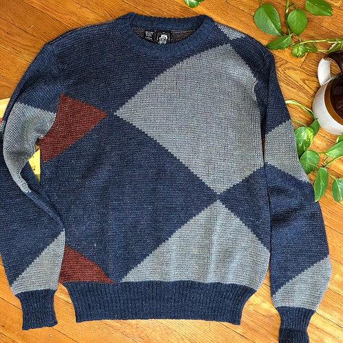 Vintage Grey and Blue Crewneck Long Sleeve Sweater