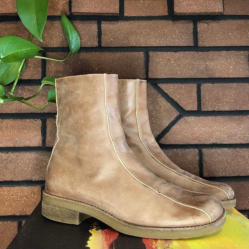 Brazilian Leather Tan Flat Zip Up Booties