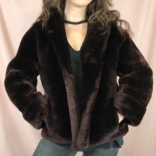 60s Dark Brown Faux Fur Jacket