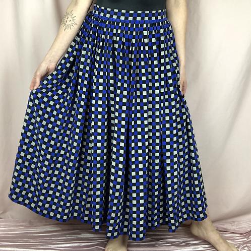 Vintage Pleated Silk Maxi Skirt